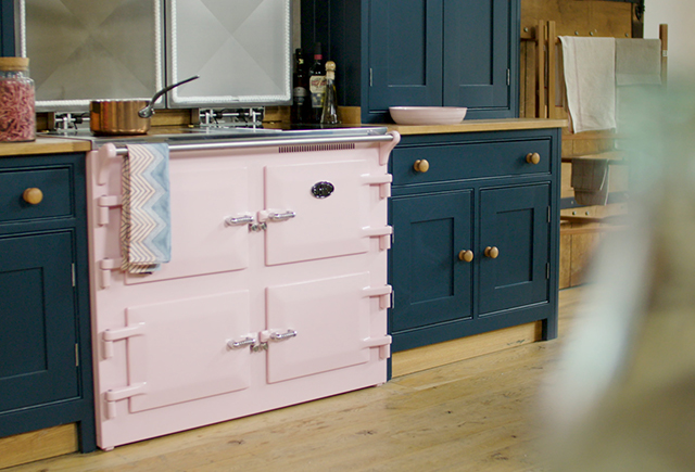 pink cooker in kitchen