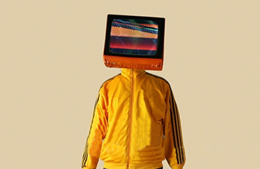 Man with tv over his head