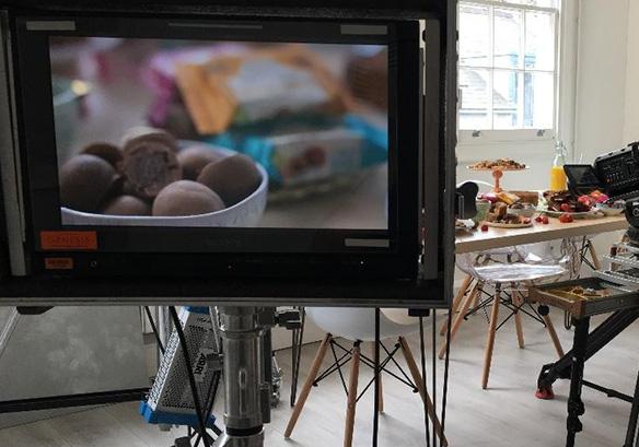 vdeo camera shooting chocolates