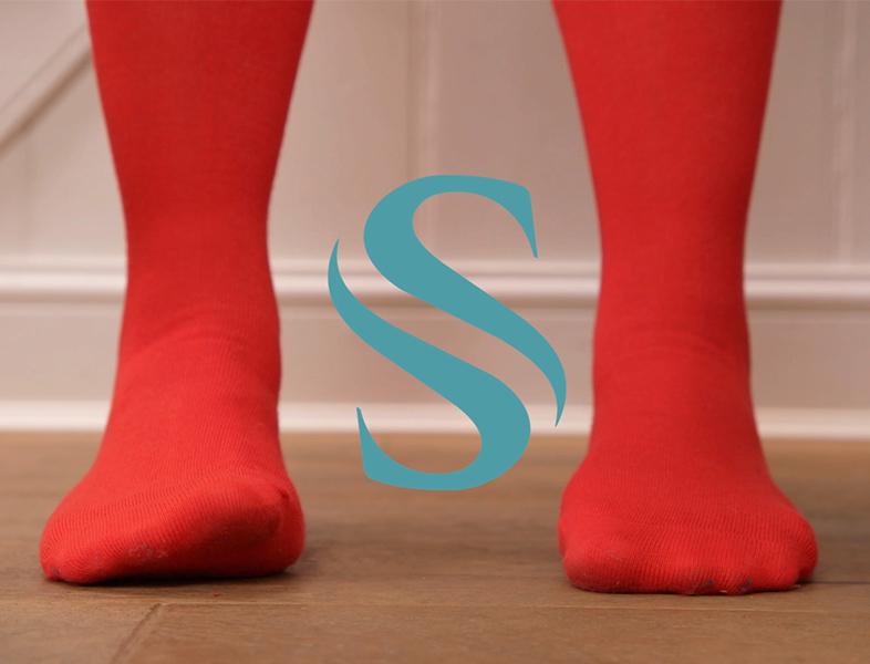 red socks on feet