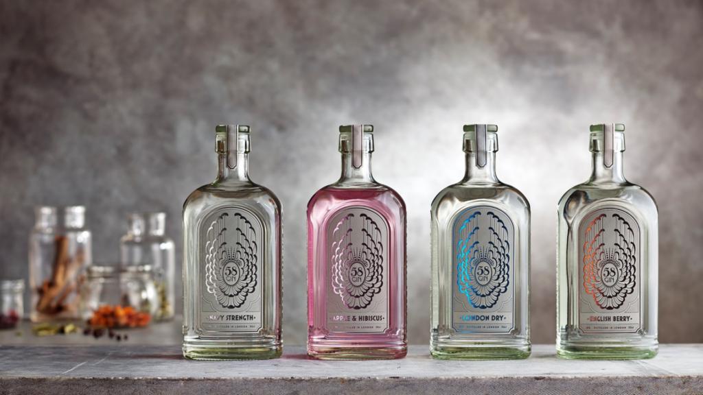 row of gin bottles
