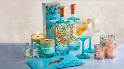 blue and orange gin and candles